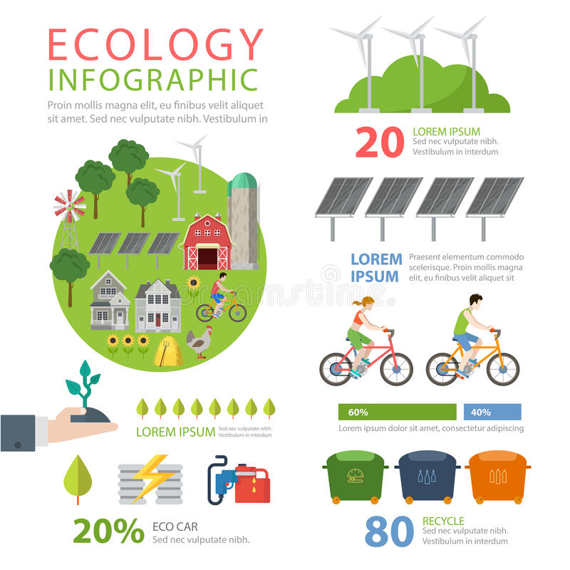 Ecologie vriendschappelijke vlakke vectorinfographics: ecovoedsel recycling stock illustratie