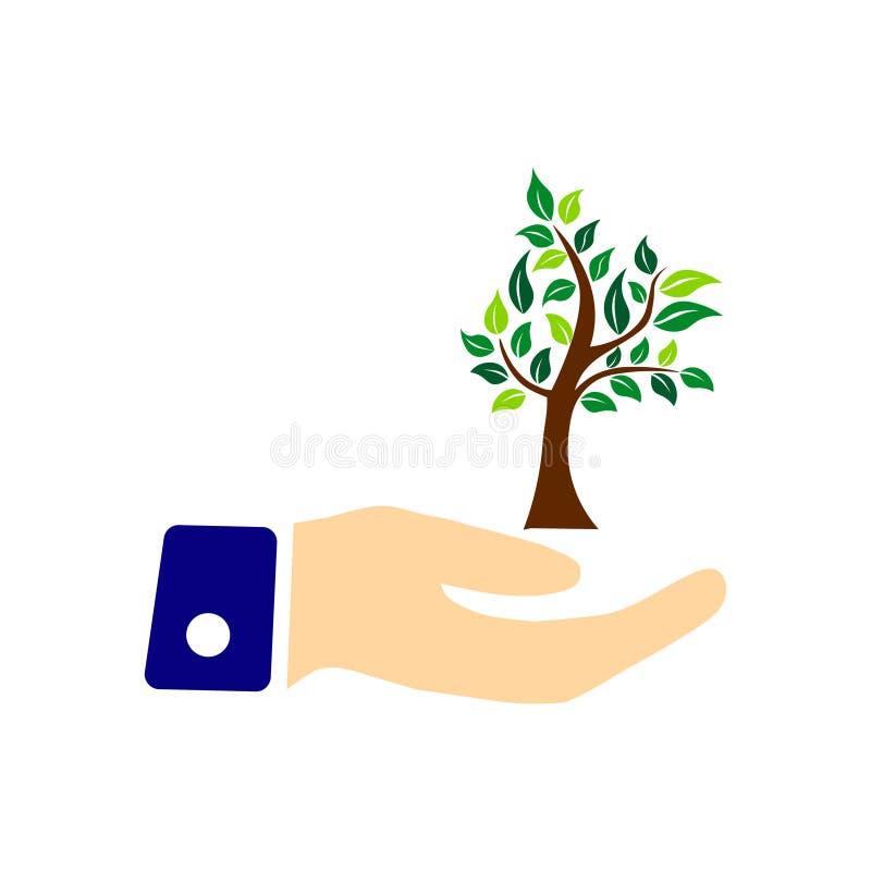 Ecologieconcept met boom op de hand Sparen het bos Vector illustratie vector illustratie