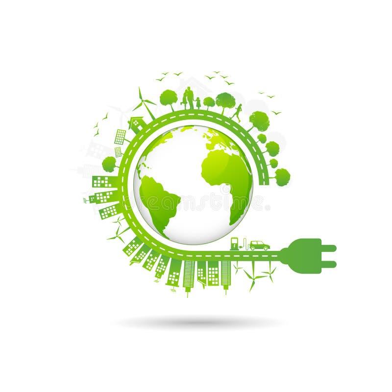 Ecologieconcept met groene stad voor de dag van het wereldmilieu en duurzaam ontwikkelingsconcept royalty-vrije illustratie