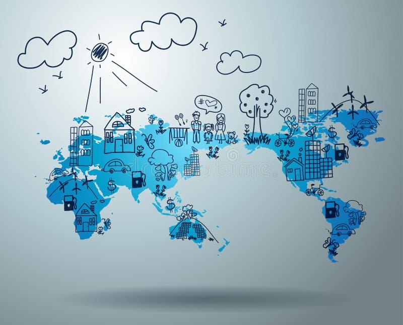 Ecologieconcept met het creatieve trekken op wereldkaart vector illustratie