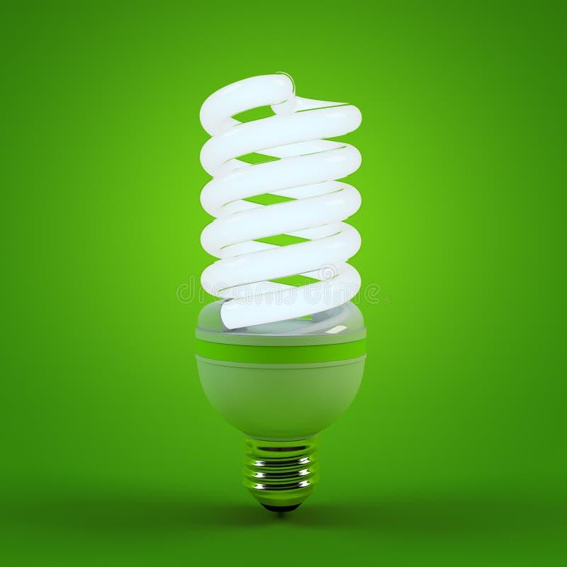 Ecologiemilieu en besparingsenergie, het concept van de neonlichtbol van succesvolle zaken Energie - besparingsoplossingen stock illustratie