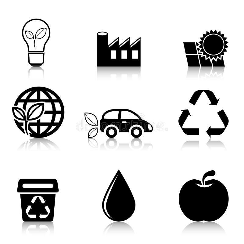 Ecologiepictogrammen met bezinning worden geplaatst die royalty-vrije stock foto's