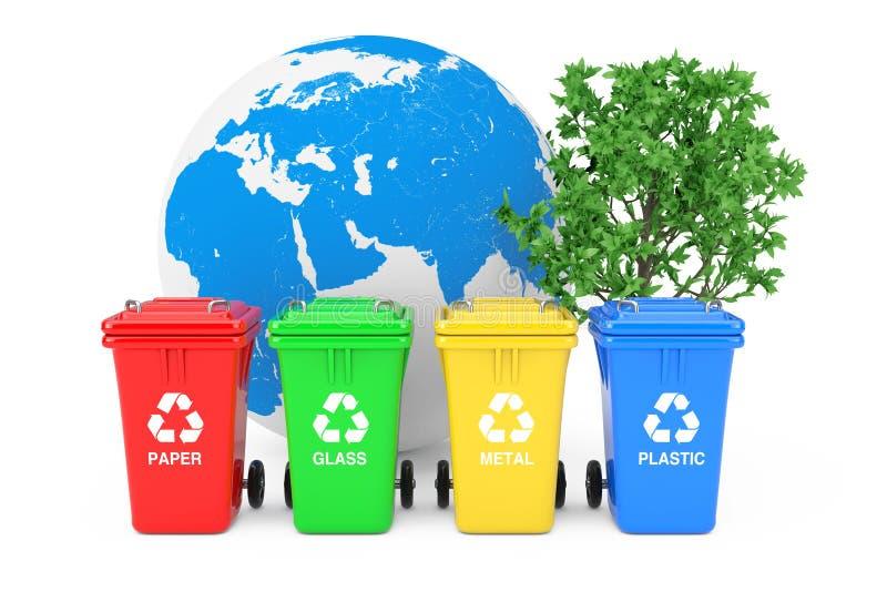 Ecologisch concept Rode, Groene, Gele en Blauwe Prullenbakken met Kringloopsymbolen, Aardebol en Groene Boom het 3d teruggeven vector illustratie