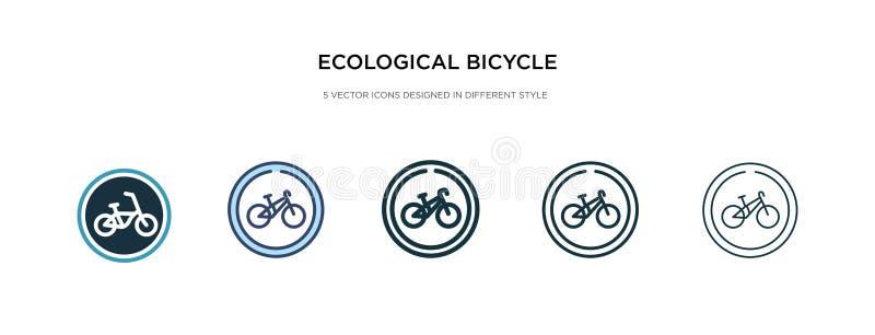 Ecologisch fietsenvervoerspictogram in verschillende illustratie van de stijlvector twee gekleurde en zwarte ecologische fietsenv vector illustratie