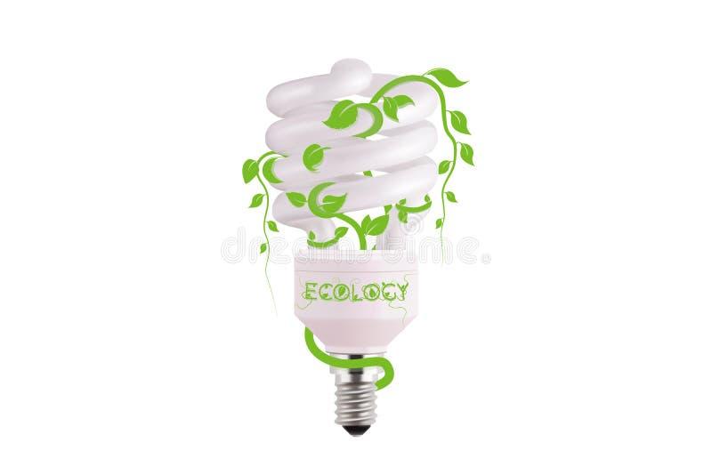 Ecologisch lightbulbpictogram in vectorformaat Het ontwerp van het Ecoidee van Vector groen licht Gloeilamp en groene bladeren stock illustratie