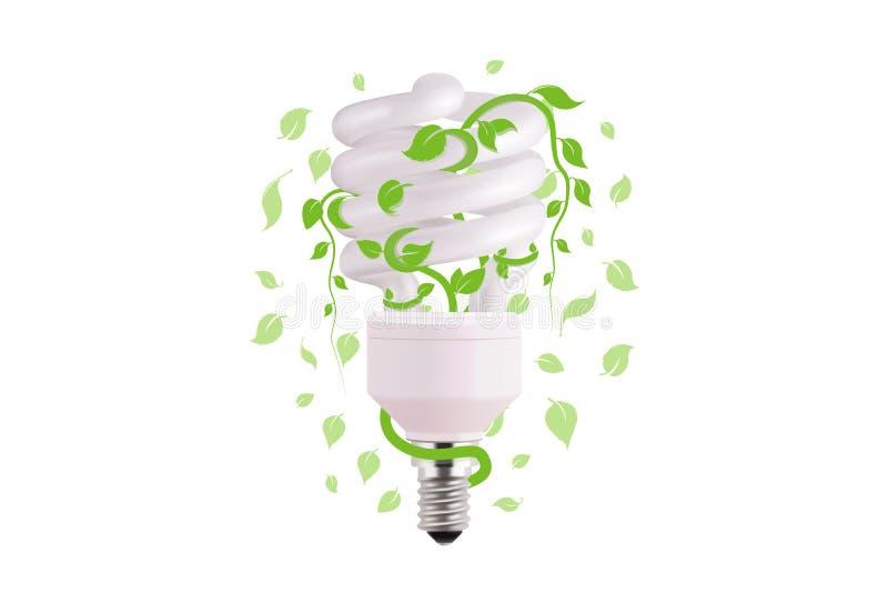 Ecologisch lightbulbpictogram in vectorformaat Het ontwerp van het Ecoidee van Vector groen licht Gloeilamp en groene bladeren vector illustratie