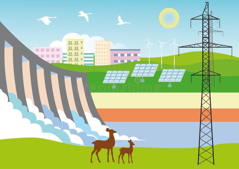 Ecologisch schone Energie royalty-vrije illustratie