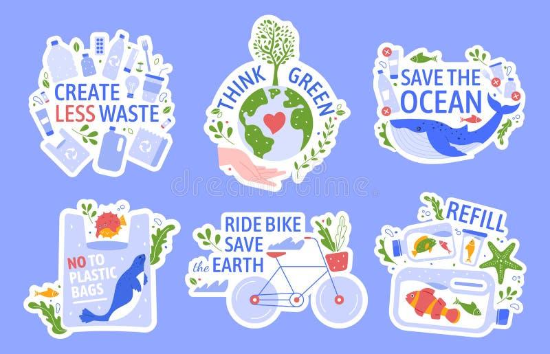 Ecologische bescherming Sparen het milieu, nul afval, bewaar de oceaan en hergebruik de vastgestelde de vectorillustratiepictogra stock illustratie