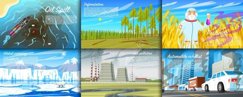 ecologische crisisfoto Reeks van de radioactieve industrie Ecologische problemenontbossing, het globale verwarmen, oliemorserij vector illustratie