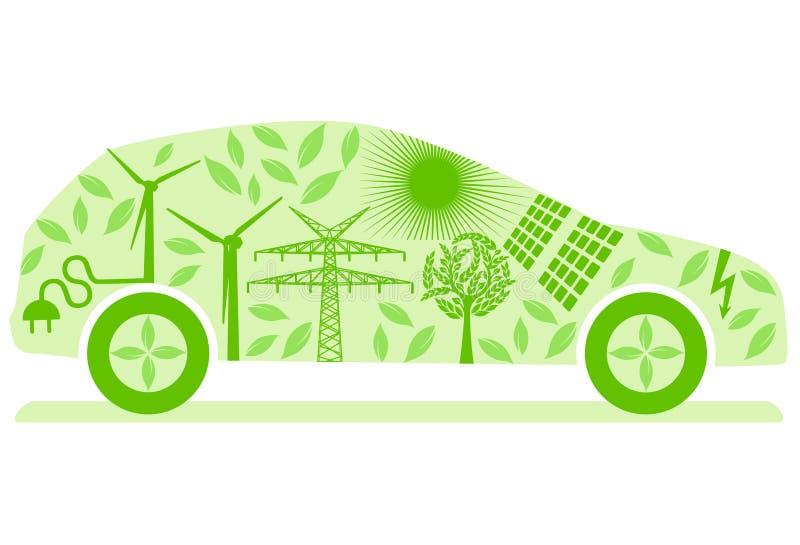 Ecologische Elektrische Auto stock illustratie