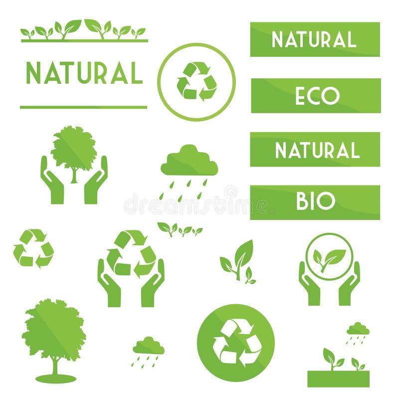 Ecologische elementensymbolen en tekens royalty-vrije illustratie