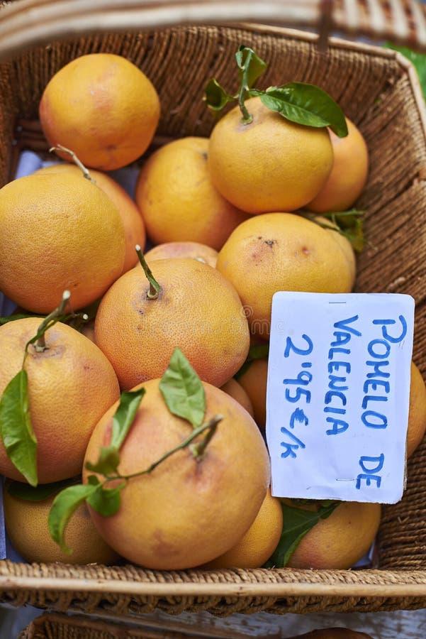 Ecologische grapefruit in een rieten mand royalty-vrije stock foto
