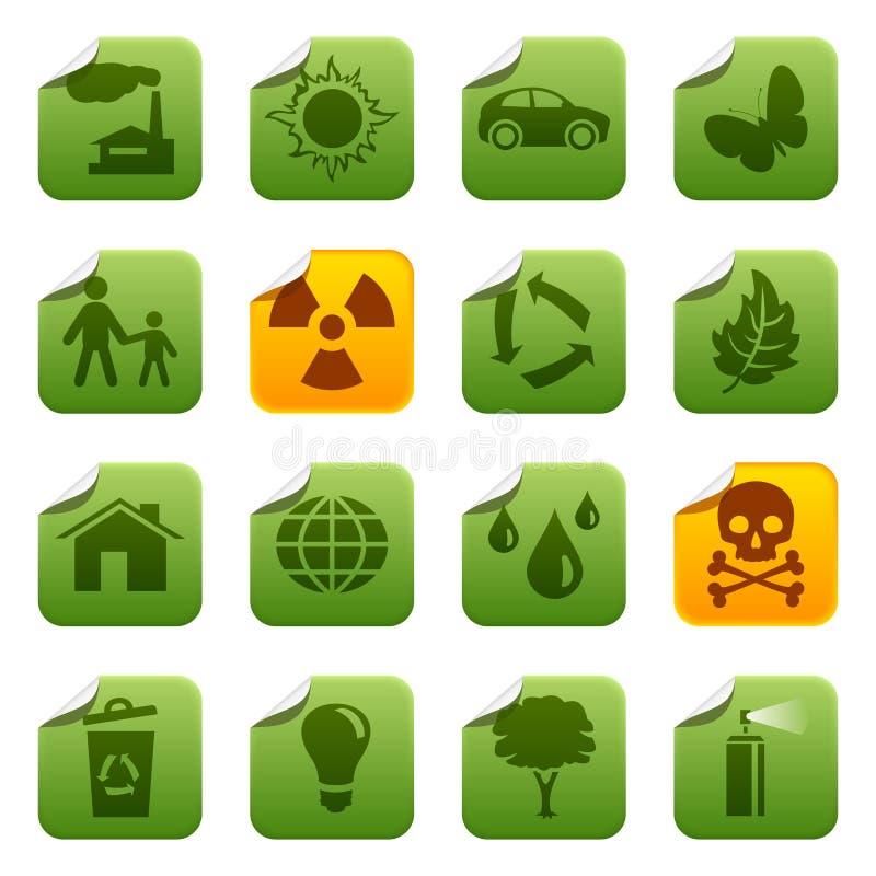 Ecologische stickers royalty-vrije illustratie