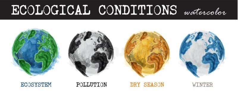 Ecologische voorwaarden Realistisch waterverf het schilderen ontwerp voorwaarde 4 van wereld is ecosysteem, verontreiniging, droo royalty-vrije illustratie