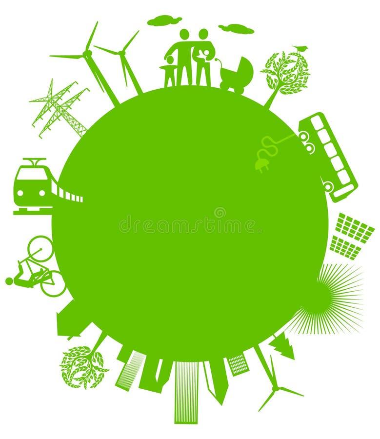 Ecologische wereld stock illustratie