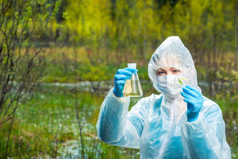 Ecologist with samples of water and plants from the forest river conducts. Research stock photography