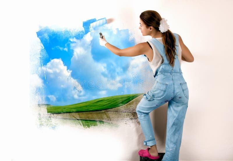Ecologo Mural Painting sulla parete fotografia stock libera da diritti