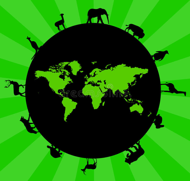 Ecology. Caring about the green planet, ecosystems and animal life royalty free illustration