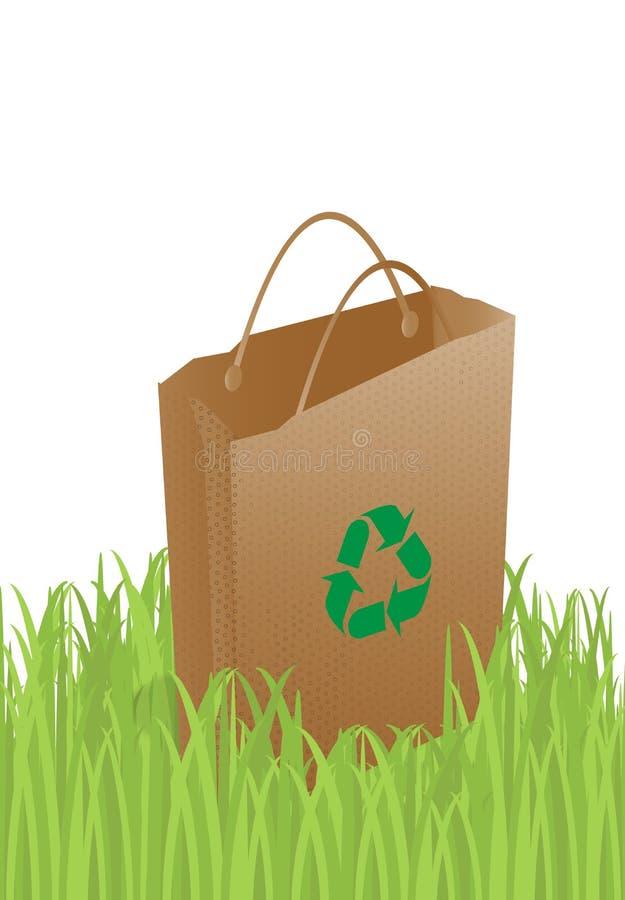Ecology bag. Paper ecology bag on grass royalty free illustration