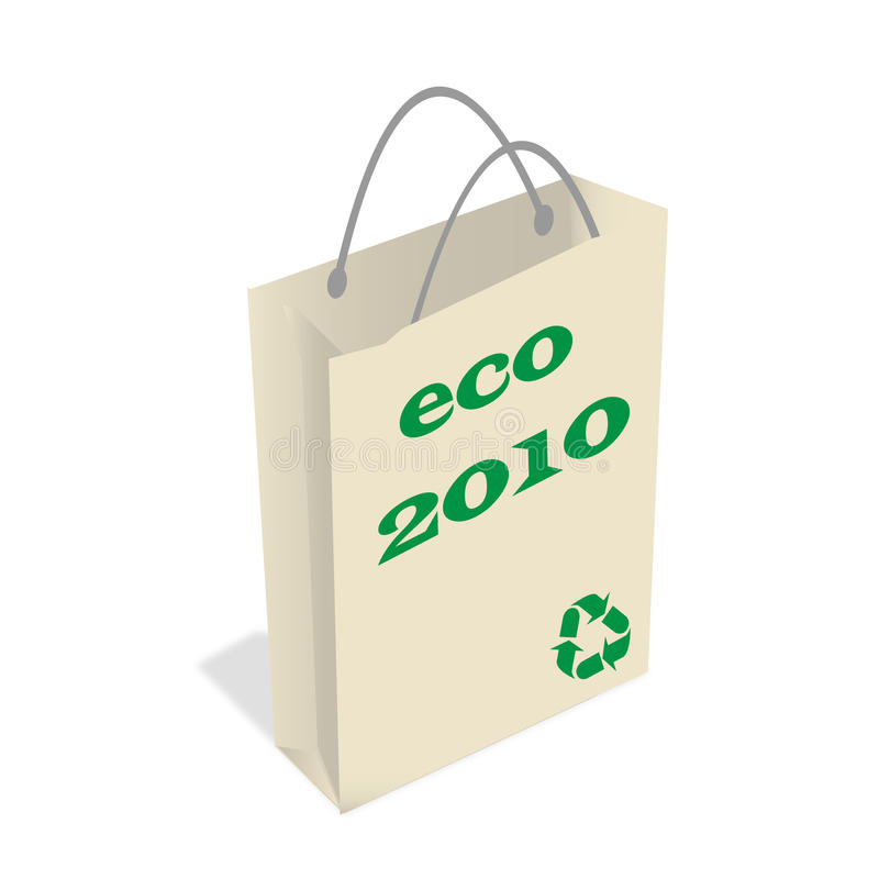 Ecology bag. Illustration paper ecology bag - Earth day royalty free illustration
