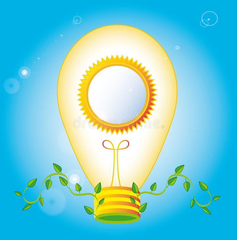 Ecology bulb. Ecological light bulb with round frame, vector royalty free illustration