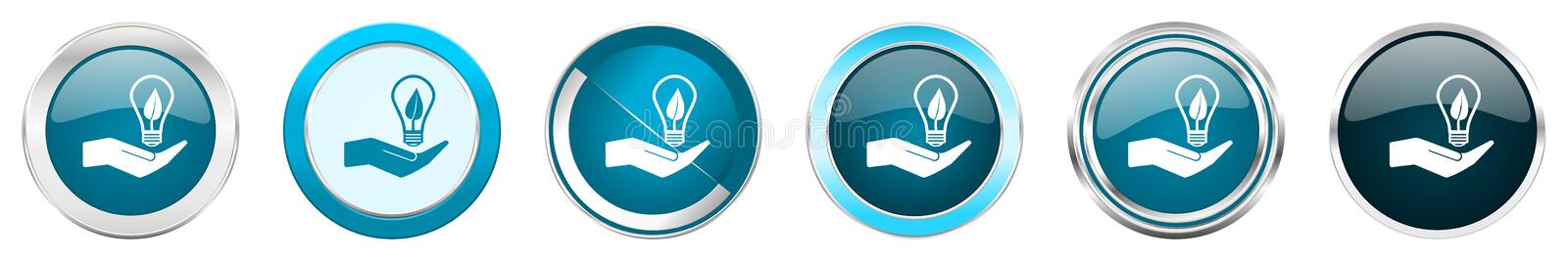 Ecology bulb on hand silver metallic chrome border icons in 6 options, set of web blue round buttons isolated on white background stock illustration