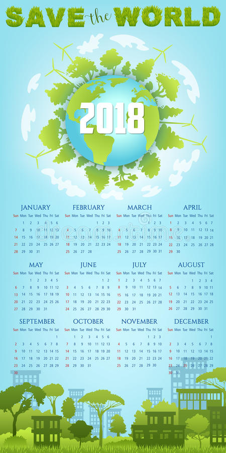 Ecology Calendar Template With Green Earth Globe Stock Vector