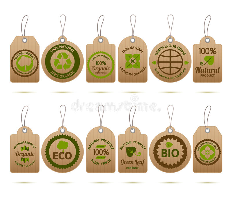 Ecology Cardboard Tags royalty free illustration