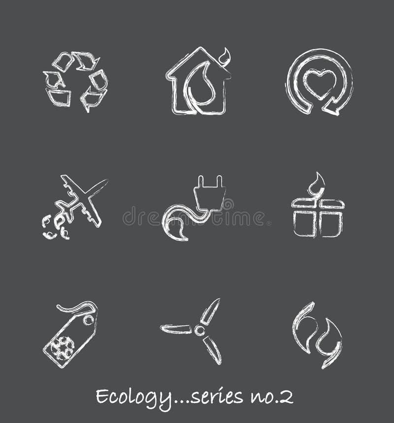 Ecology chalkboard icons...series no.2 stock illustration