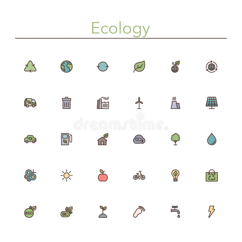 Ecology Colored Line Icons vector illustration