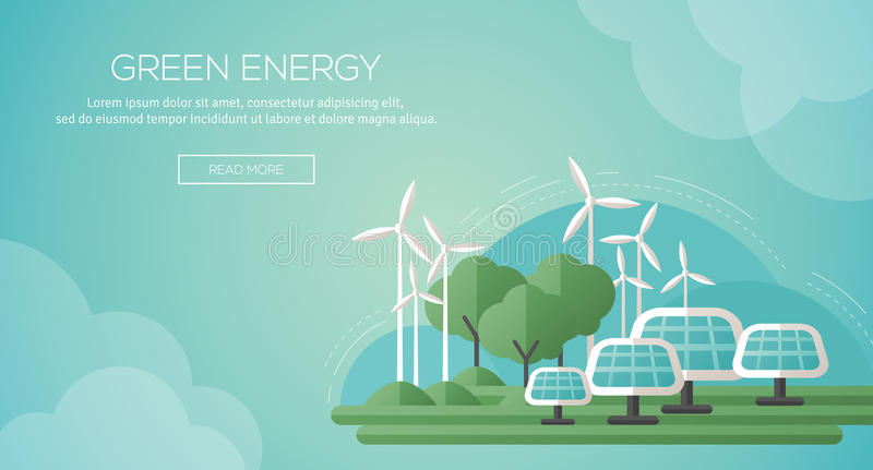 Ecology Concept Banner Template in Flat Design. Vector Illustration. Solar Panels and Wind Turbines - Green Energy Technology. Ecology, Environment and stock illustration
