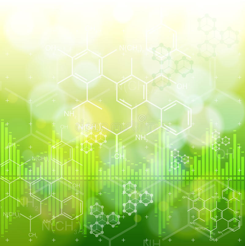 Ecology concept: chemical formulas, digital wave. Ecology background: chemical formulas, digital wave & green bokeh abstract light vector illustration