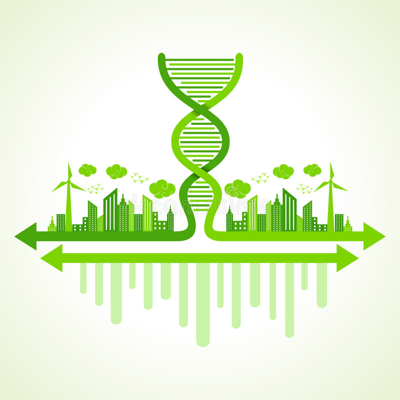 Download Ecology Concept With DNA Strand Stock Photo - Image of architecture, home: 44804332