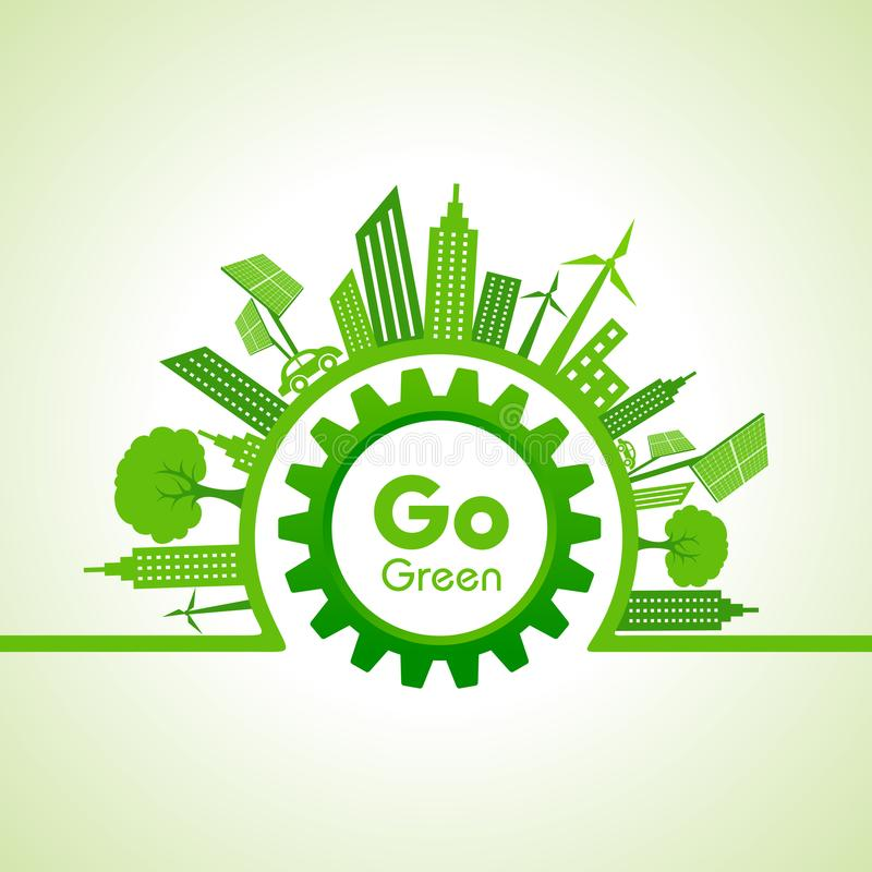 Ecology concept with eco cityscape vector illustration