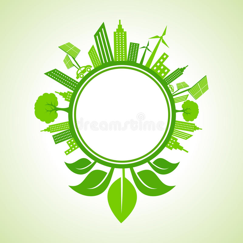 Ecology concept -eco cityscape with leaf around the circle vector illustration