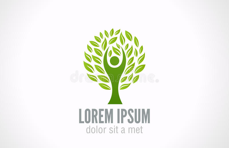 Ecology concept. Eco Green Tree logo template. Eco Green Tree logo template. Bio Man abstract icon. Ecology concept. Vector. Editable royalty free illustration