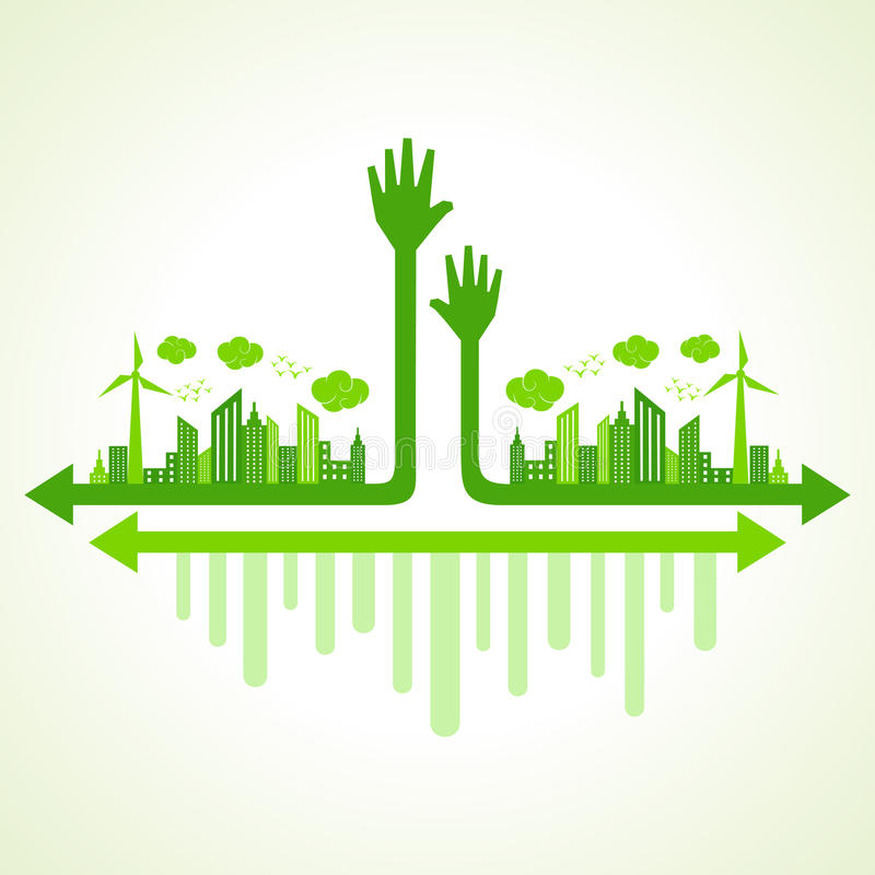 Ecology concept with eco hand stock illustration