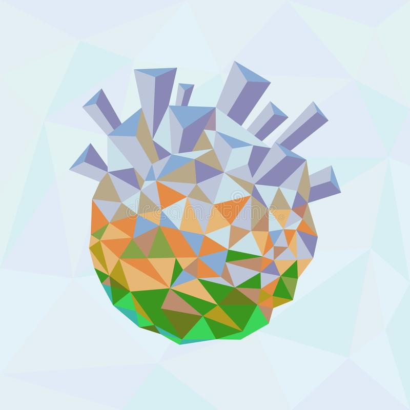 Ecology concept. Green planet being destroyed vector illustration