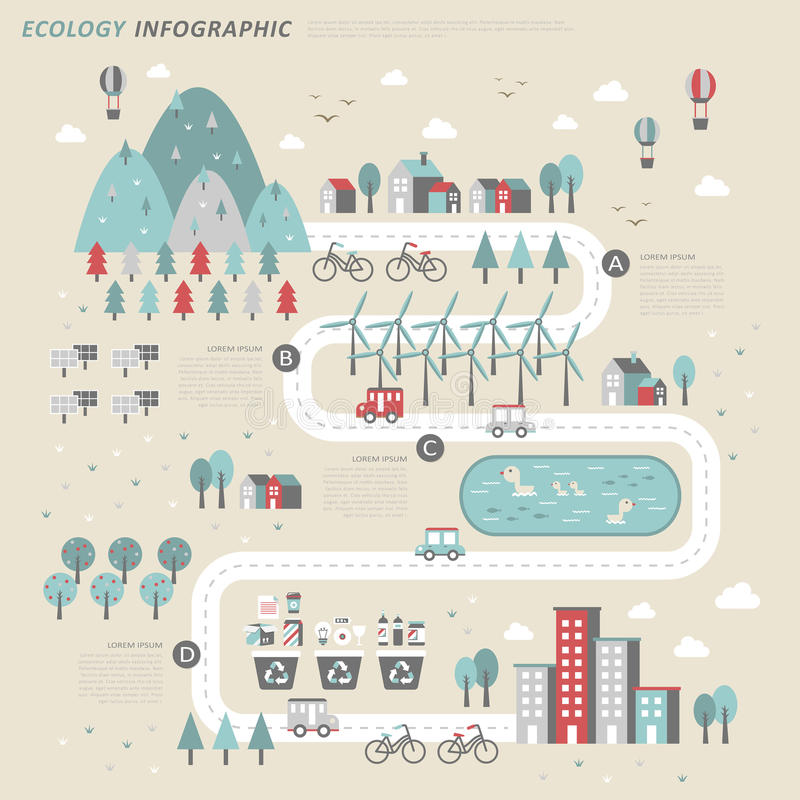Ecology concept infographic template royalty free illustration