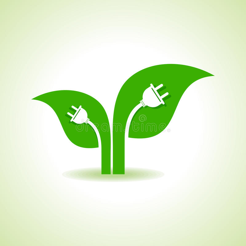 Ecology Concept - Leaf with electric plug stock illustration