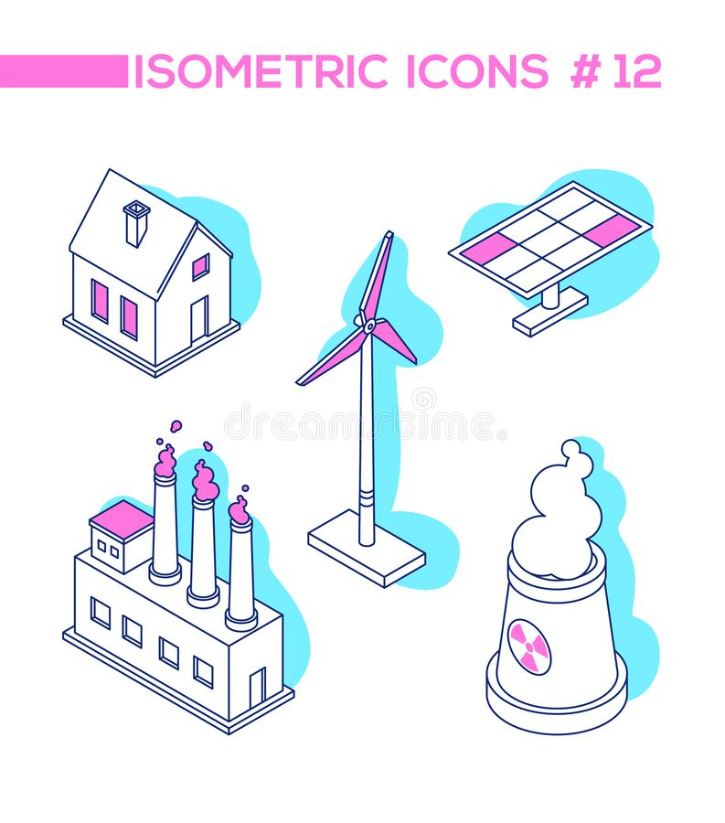 Ecology concept - line design style isometric objects stock illustration