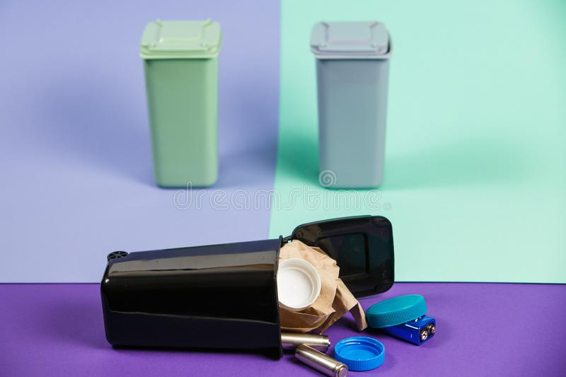 Ecology concept, a lot of recyclable objects in containers stock photography