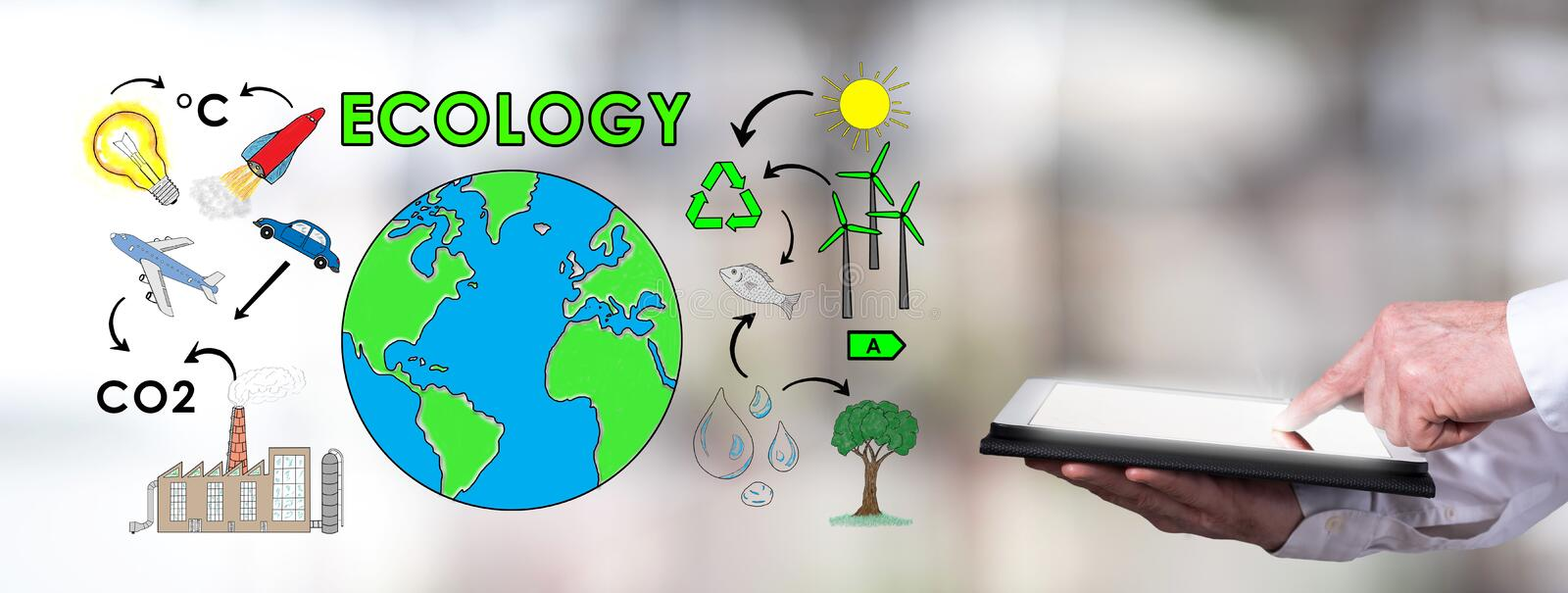 Ecology concept with man using a tablet. Man using a tablet with ecology concept vector illustration