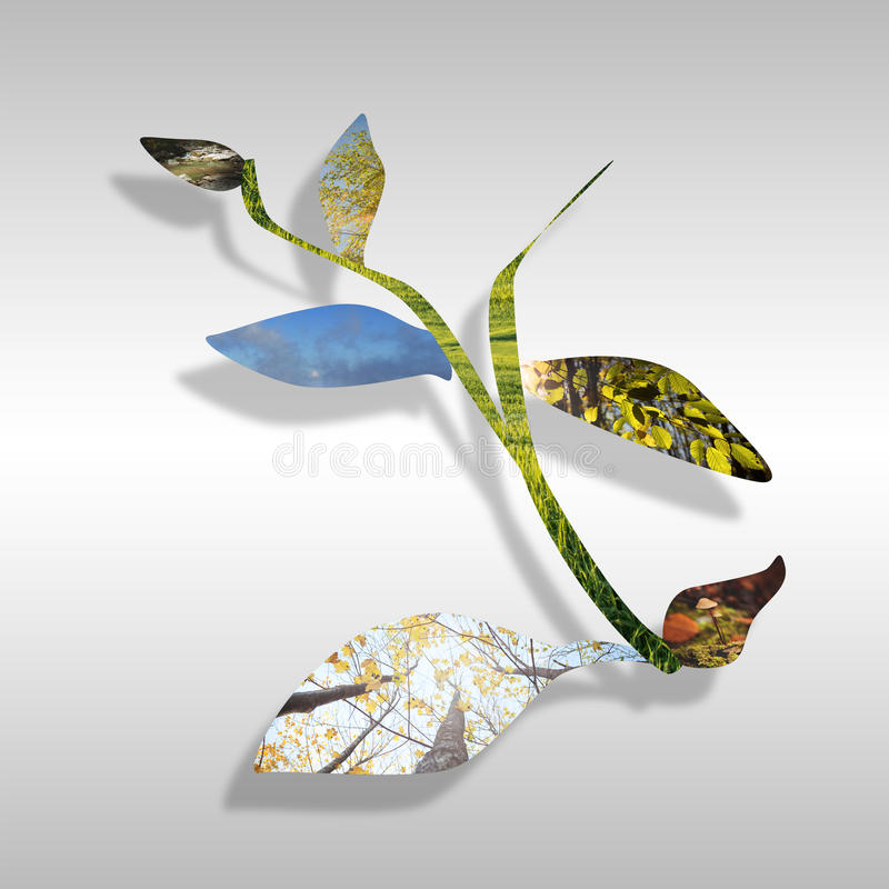 Ecology concept. With more nature images on leafs stock illustration