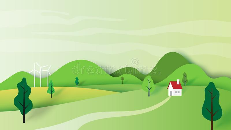 Ecology concept and nature landscape scenery paper art style. Ecology concept and nature landscape scenery with house and mountains paper art style design royalty free illustration