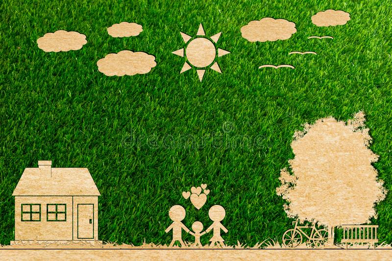 Ecology concept paper cut of family love home sun tree cloud royalty free stock photography
