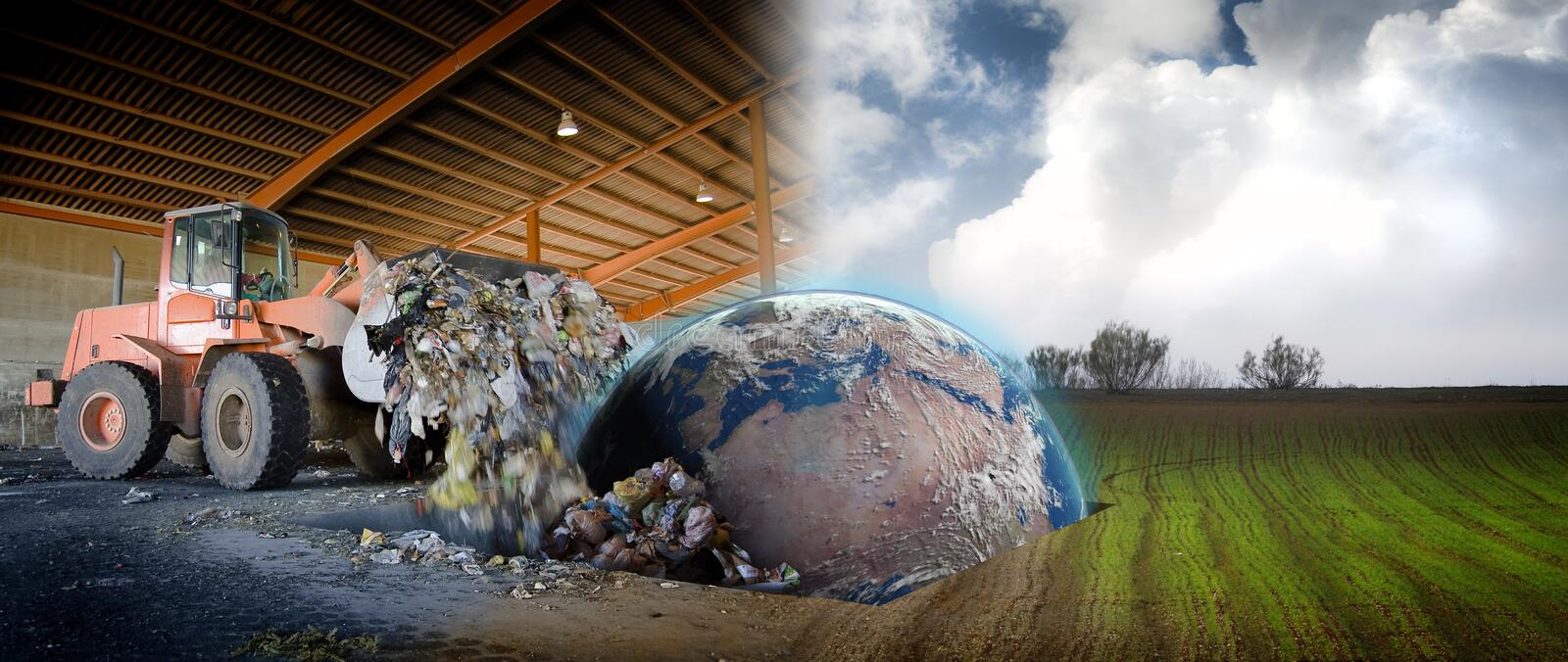 Ecology concept , planet earth. In a scrap site stock photography