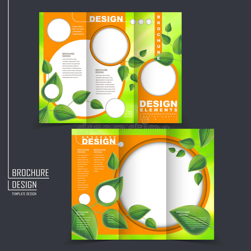 Ecology concept tri-fold template brochure with leaf element. In green and orange stock illustration