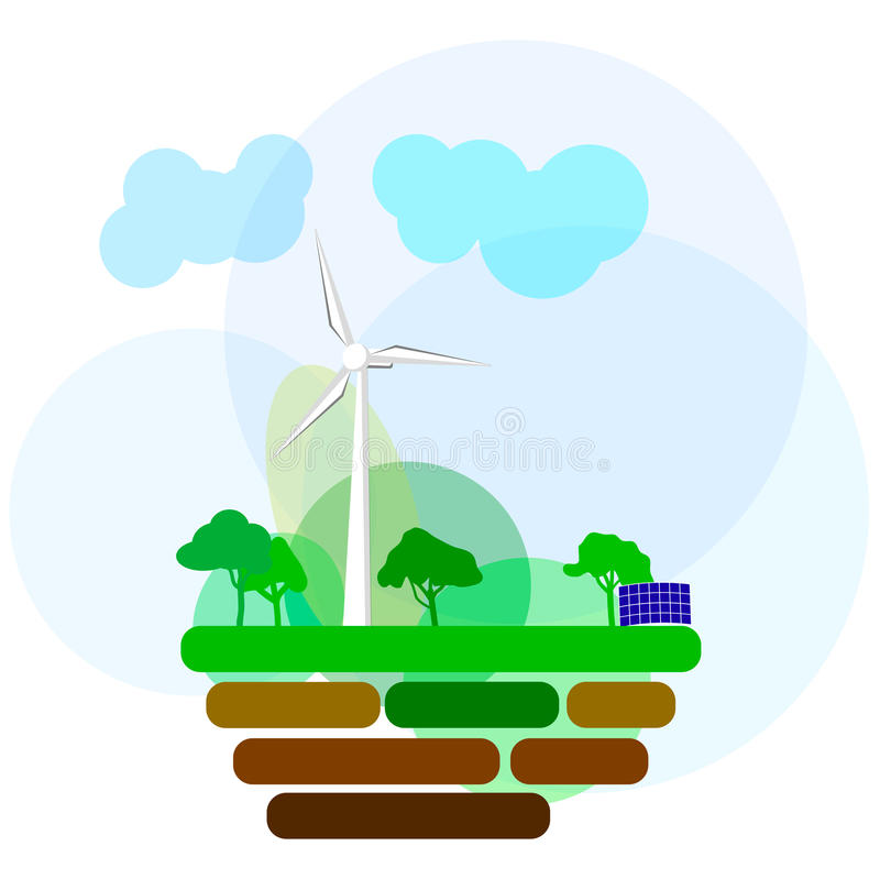 Ecology Concept Vector Icons Set for Environment, Green Energy royalty free stock photography