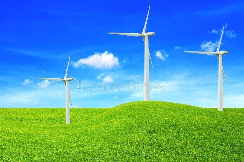 Ecology concept. Windmills. Renewable energy sources.  royalty free stock images
